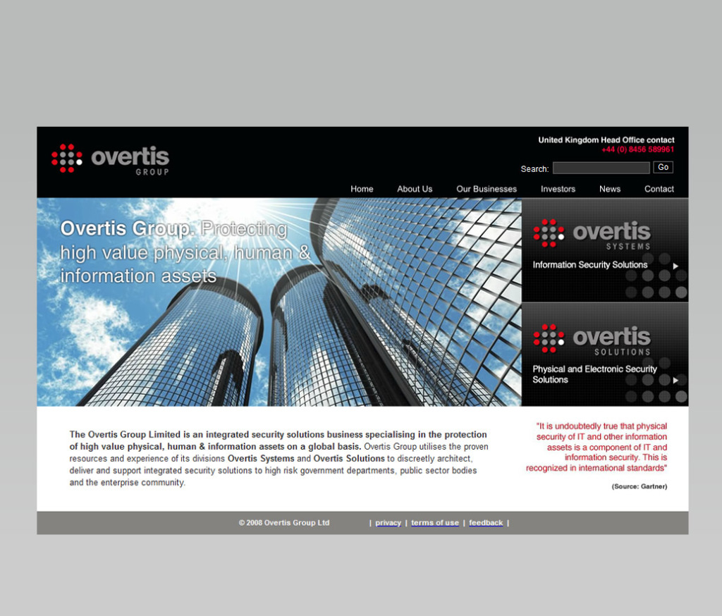 Overtis - consultancy, branding, content & collateral and website